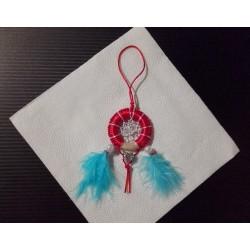 Lapač snov - červeno strieborno modrý