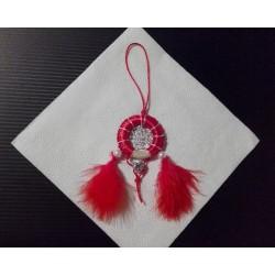 Lapač snov - červeno strieborno červený