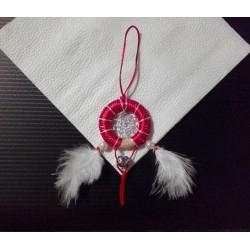 Lapač snov - červeno strieborno biely