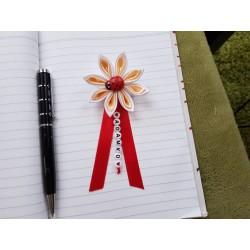 Kvet na kočík (bielo béžový) Lienka červená