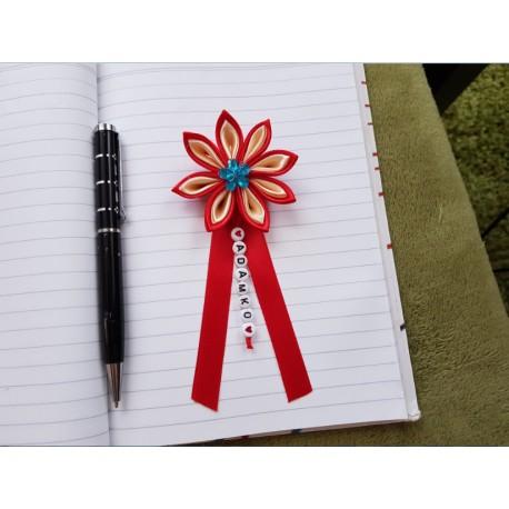 Kvet na kočík (červeno béžový) modrý kvietok
