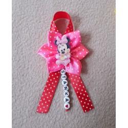 Kvet na kočík Minnie mouse - ružový bodka